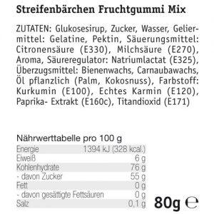 Streifenbarchen-Fruchtgummi-Mix-Zutaten